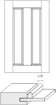 Cabinet Door: Appl Mldg Split Veneer Panel (M1 Bead)