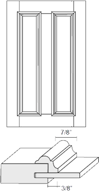 Cabinet Door: Appl Mldg Split Veneer Panel (M4 Bead)